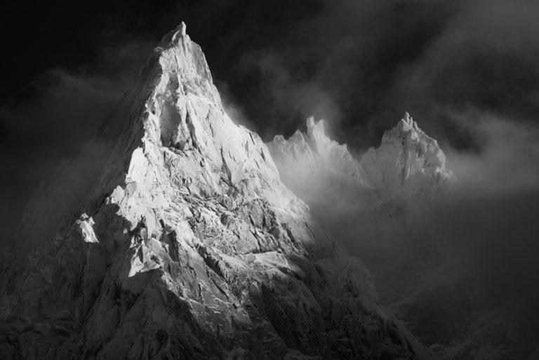 Photo de montagne noir et blanc aiguille du midi - Aiguille de Blaitière - Aiguille des Ciseaux - Aiguille du Fou