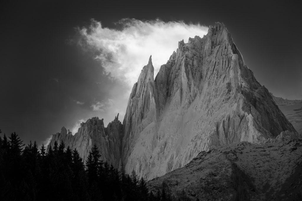Chamonix aiguille du midi- Photo montagne noir et blanc