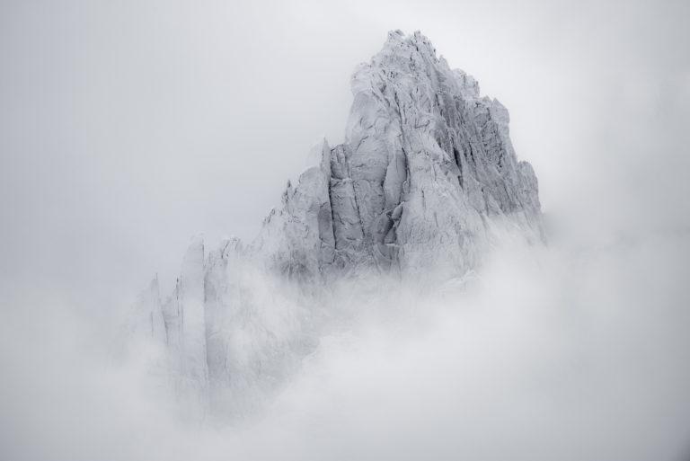 Aiguilles de Chamonix en noir et blanc - Mont Blanc