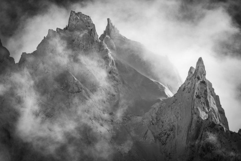 Noir et blanc des Aiguilles de Chamonix - Mont Blanc