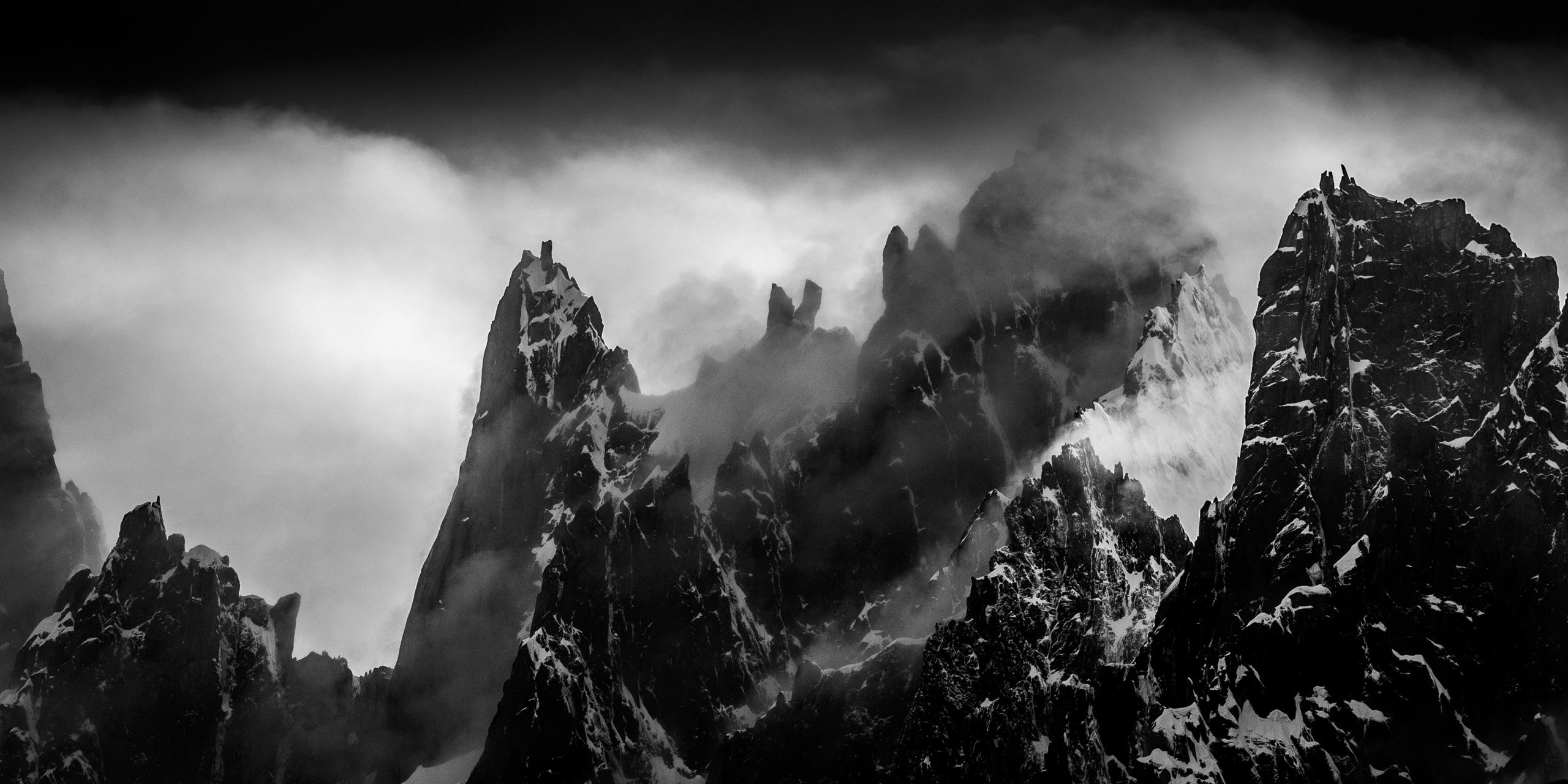 Photo montagne noir et blanc - Aiguille du midi-Chamonix-Mont Blanc-