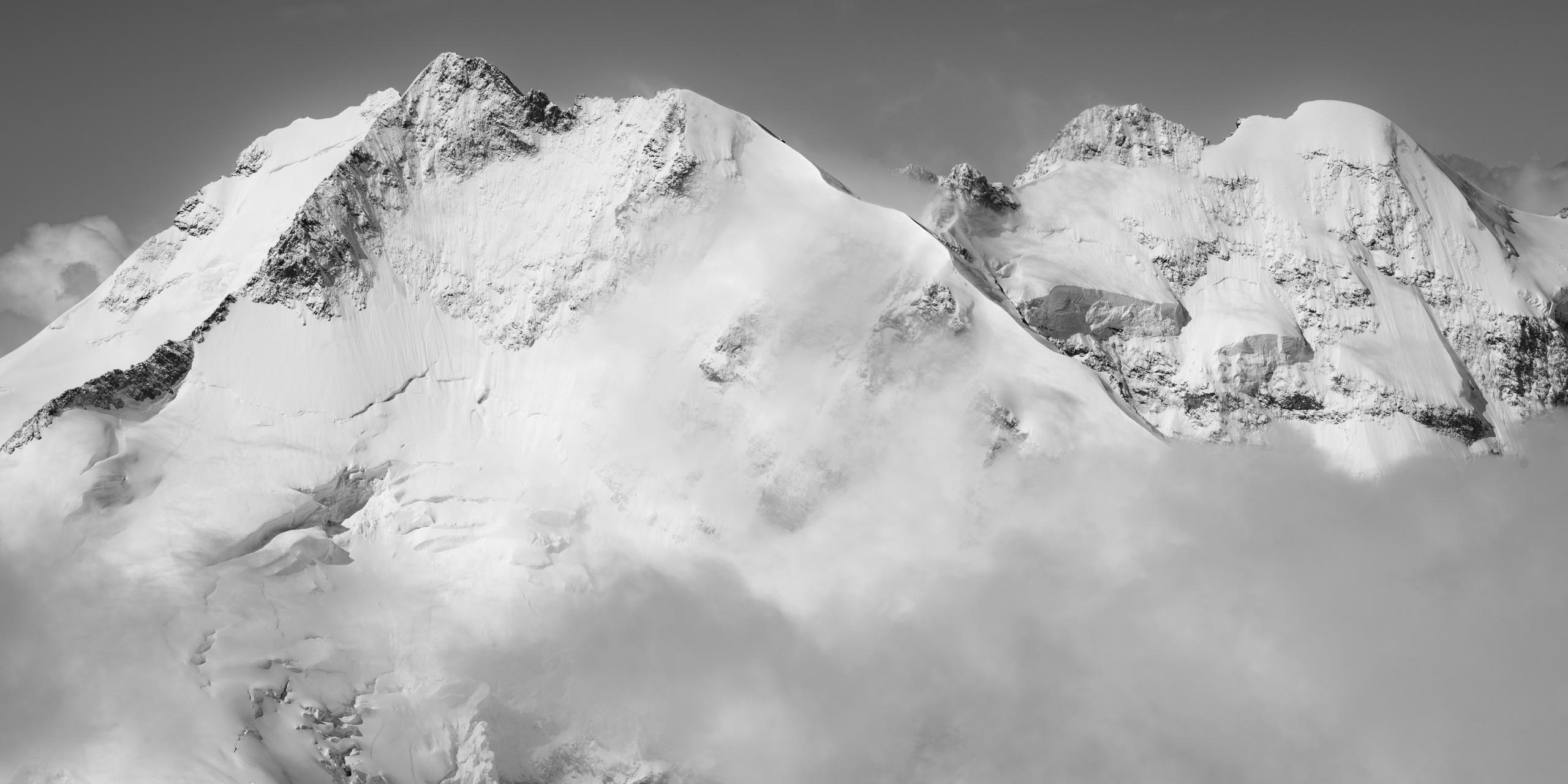 Bernina - photo paysage montagne noir et blanc Alpes Suisses