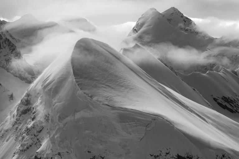 Breithorn - Lyskamm - vallée de zermatt noir et blanc - zermatters breithorn