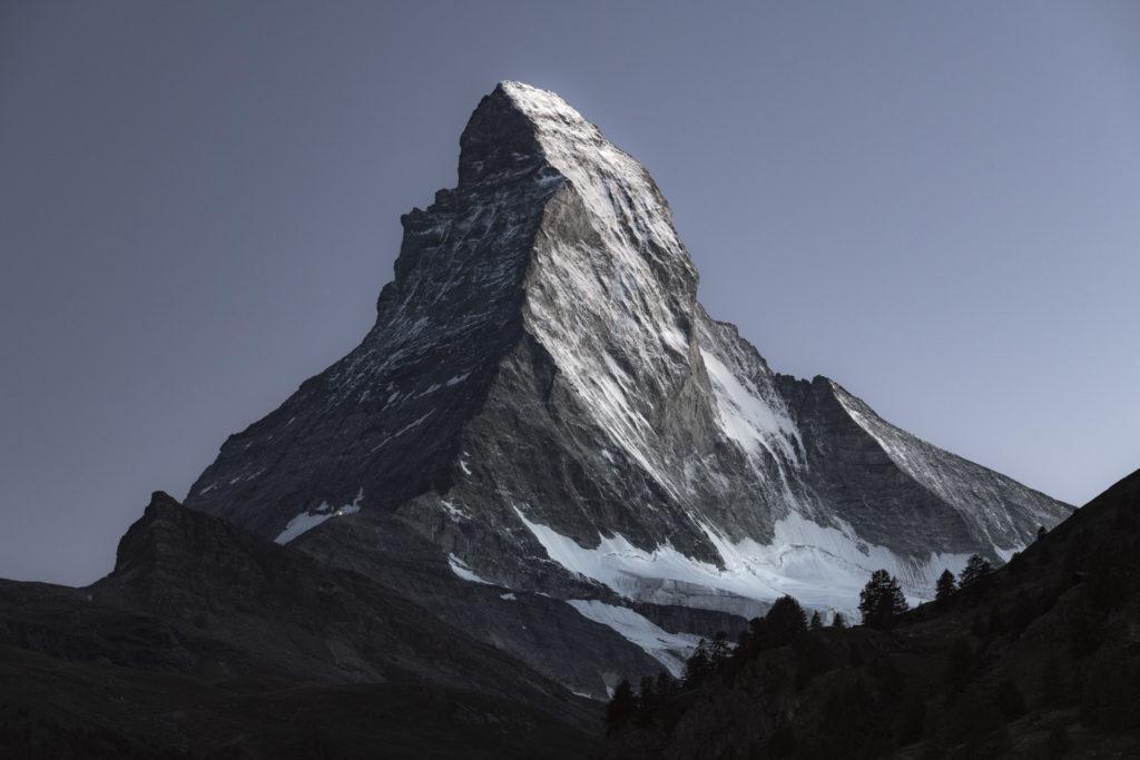 Mont Cervin depuis Zermatt dans les Alpes Valaisannes- Photo montagne sommet des Alpes