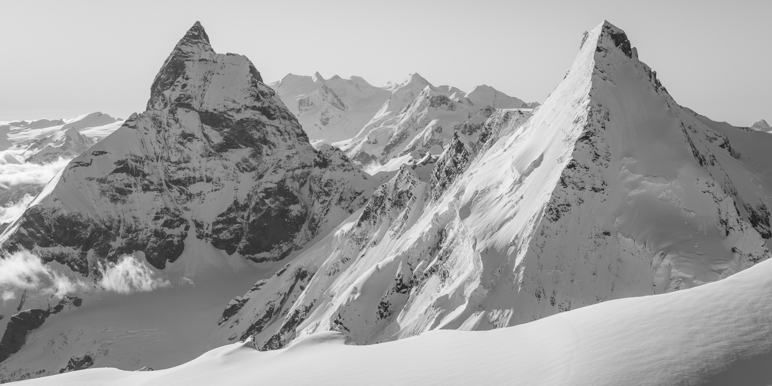 Cervin - Tableau panoramique montagne enneigéed herens