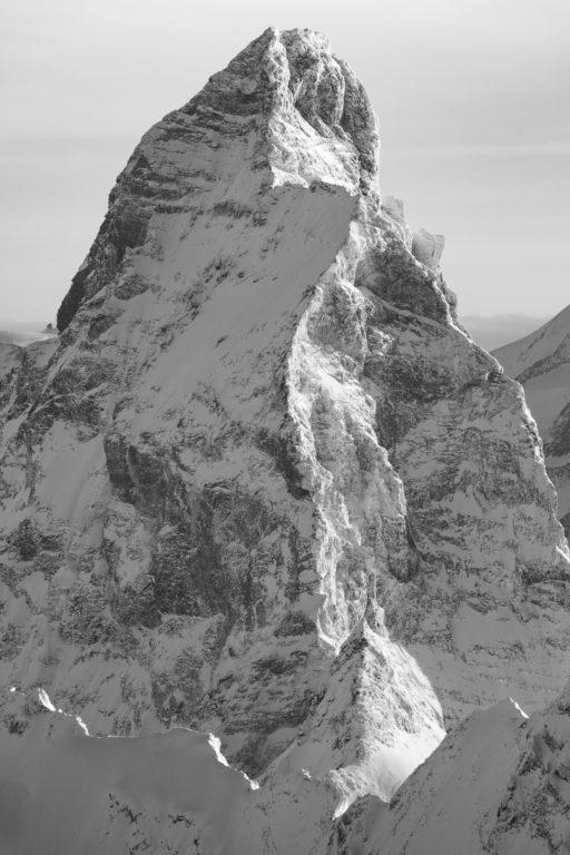 Mont Cervin - Lion - Pic Tyndall - photo montagne sous la neige en noir et blanc
