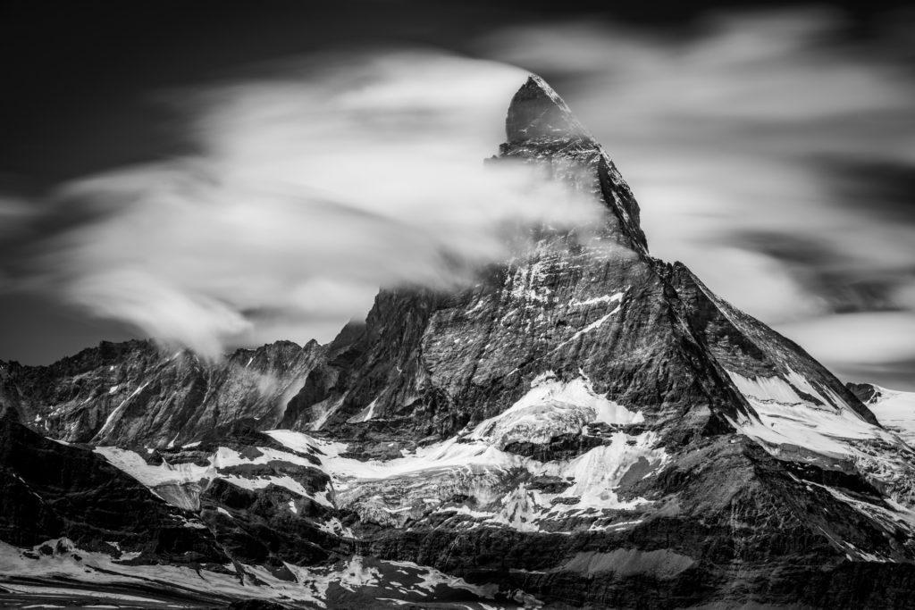 Mont Cervin photo noir et blanc vu depuis le Gornergratt
