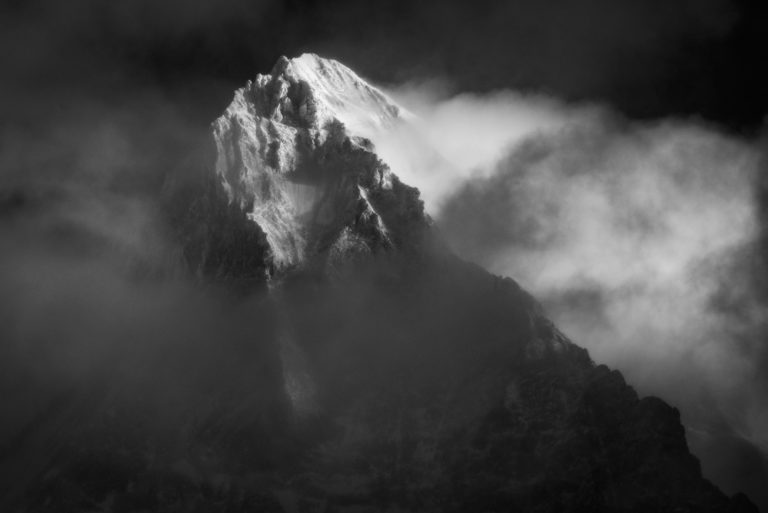 Photo montagne noir et blanc vue du val d'Hérens