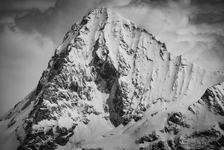 Photo mont dent blanche noir et blanc - Vue Val d'Hérens - photo montagnes Alpes