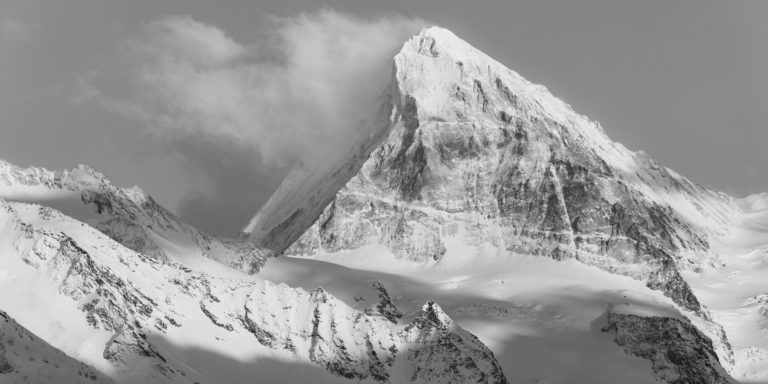 panorama Dent Blanc - Photo panoramique montagne noir et blanc