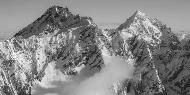 Dent d'Hérens - Dent Blanche - Tableau photo des montagnes de Zermatt et Crans Montana et montagne en neige dans les Alpes Suisse