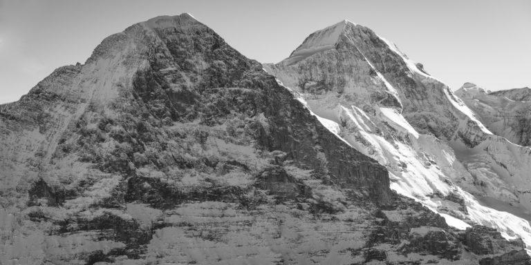 vue panoramique montagne Eiger face nord - Monch - images de neige en montagne