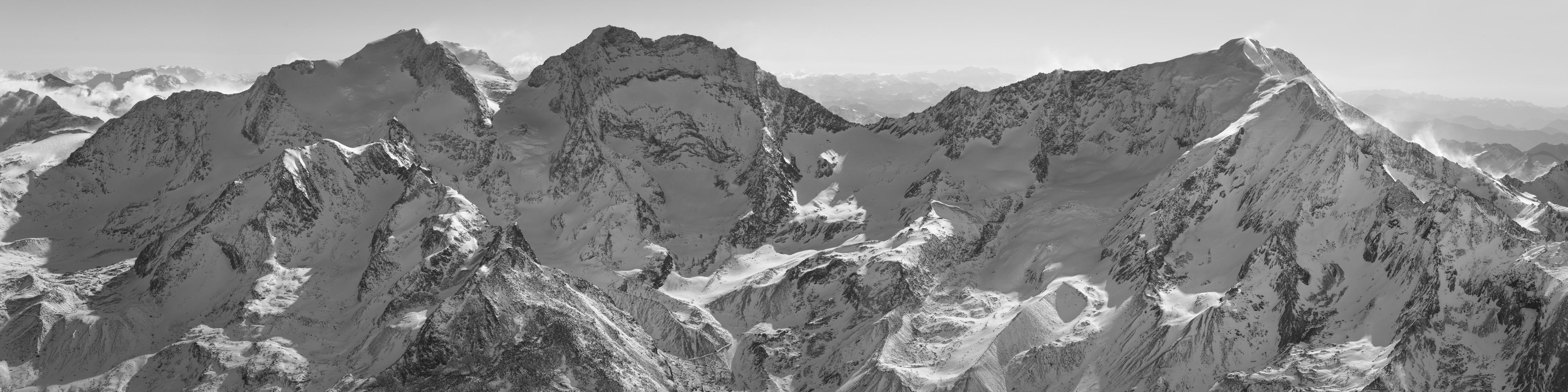 photo panoramique Fletschhorn - Panorama noir et blanc Lagginhorn - Weissmies
