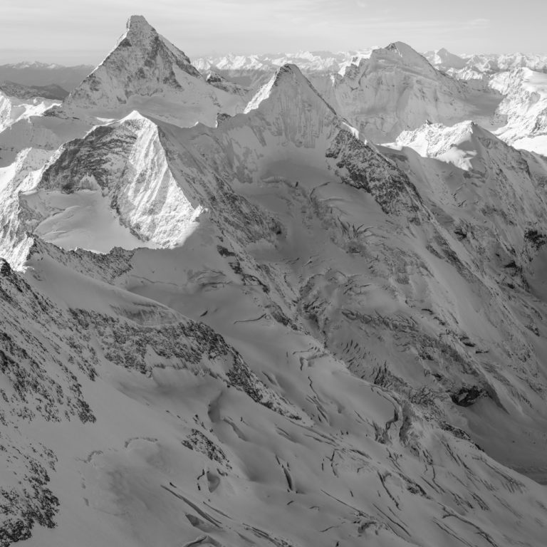 Photo de montagne en noir et blanc - Matterhorn - Obergabelhorn - Val d'Hérens