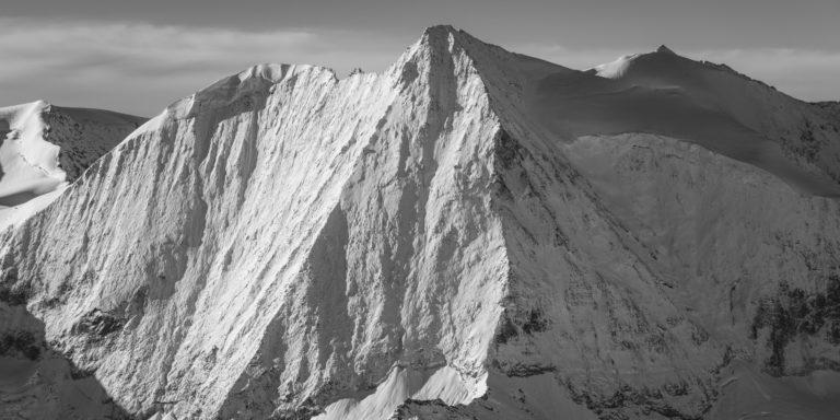 Mont Blanc de Cheilon - Photo encadrée d'un panorama montagne noir et blanc