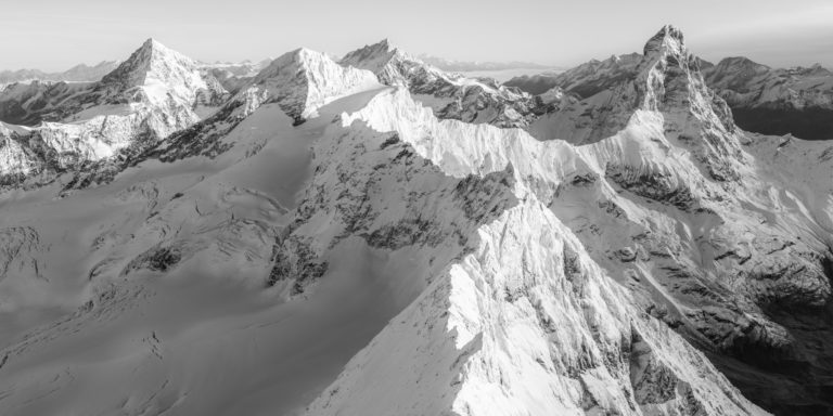 Zermatt panorama noir et blanc - Cervinia italie