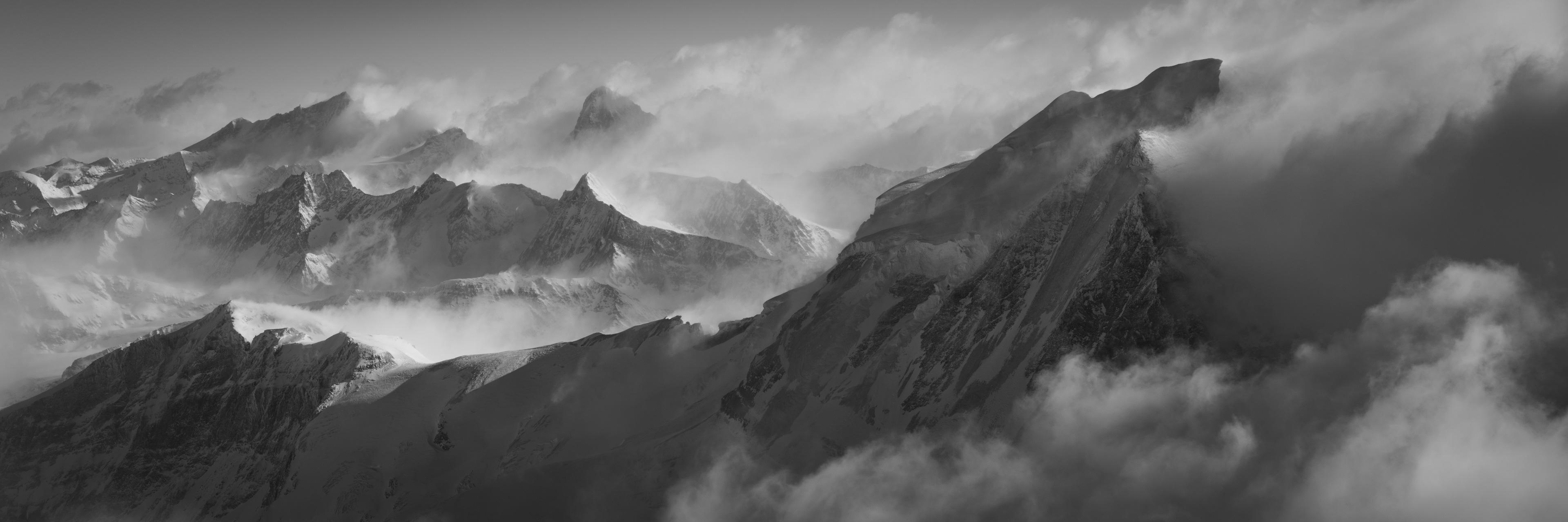 Panorama montagne Grand Combin - tableau photo noir et blanc montagne des Alpes Valaisannes