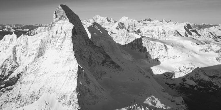 panoramic image swiss alps black and white