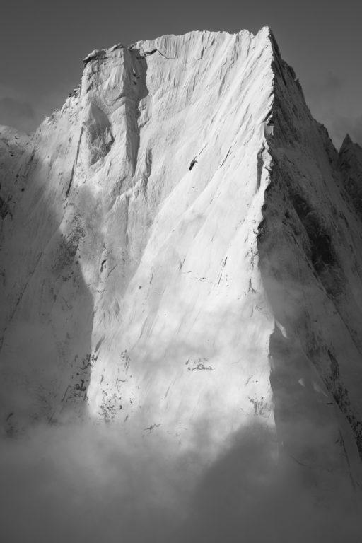 Engadine photos - image noir et blanc Cassin Piz Badile - Alpes Suisses