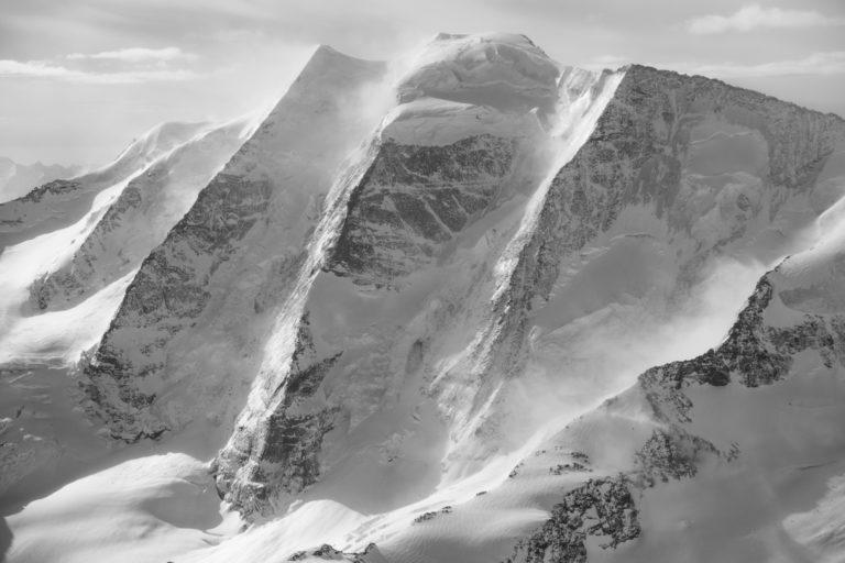 Piz Palu - St Moritz Suisse - Image noir et blanc montagne