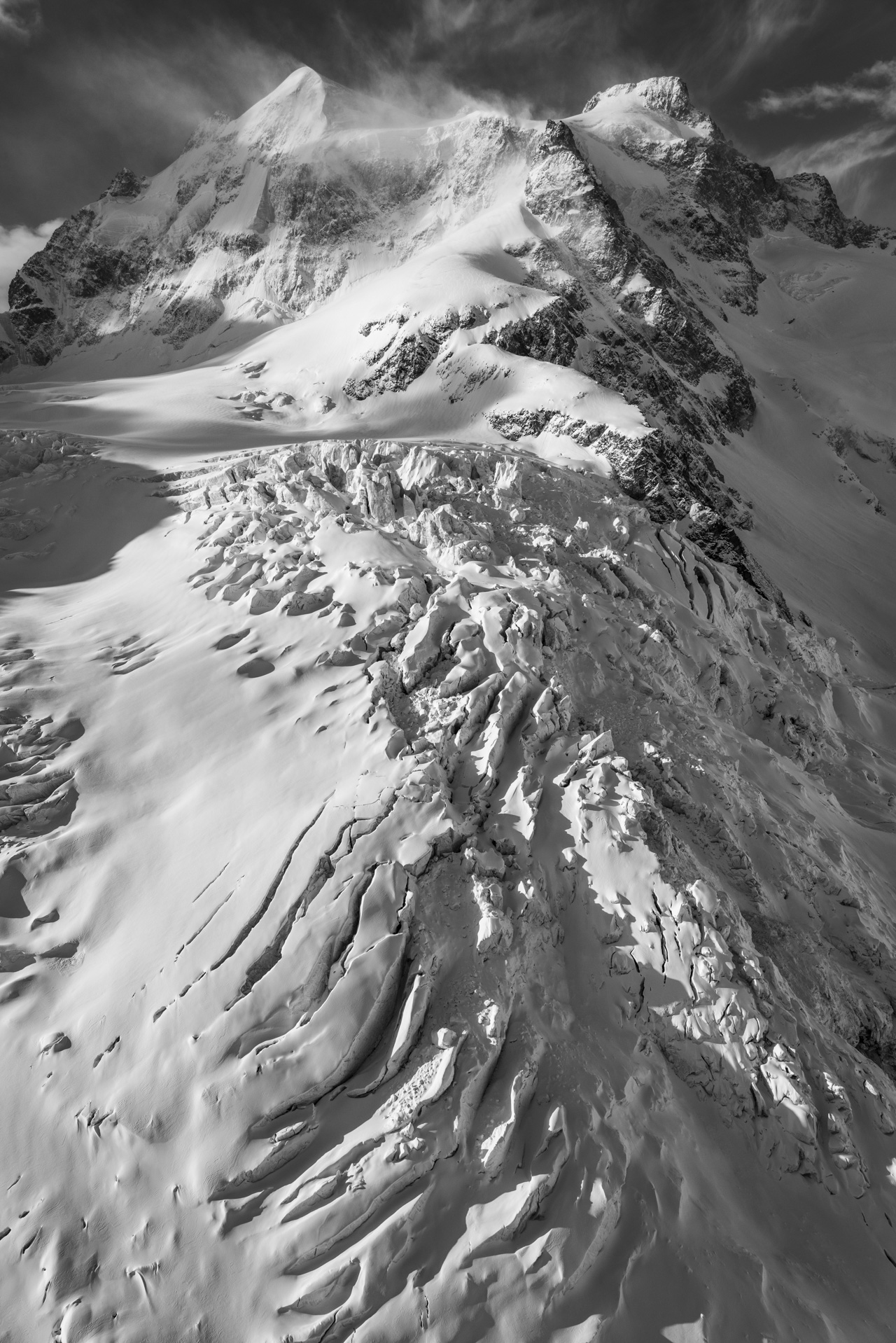 Pontresina photo - Photo hélicoptère Roseg - Engadine Grisons