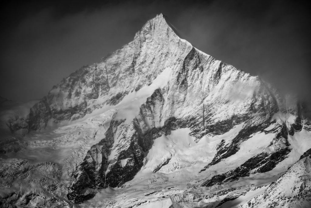 Weisshorn - photo montagne noir et blanc