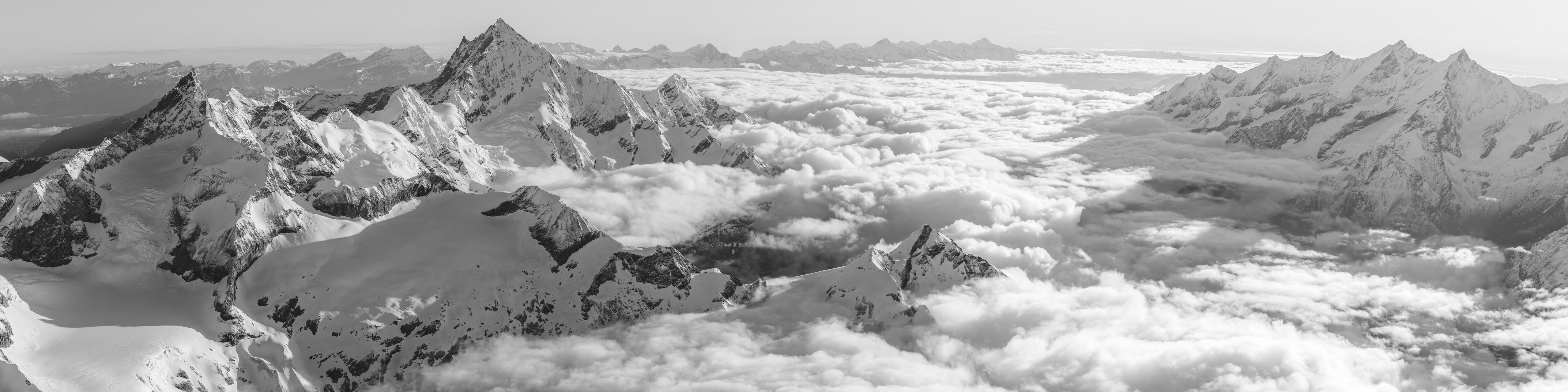 Photo encadrée du panorama de Zermatt dans les Alpes Suisses - Mischabel, Saas-Fee