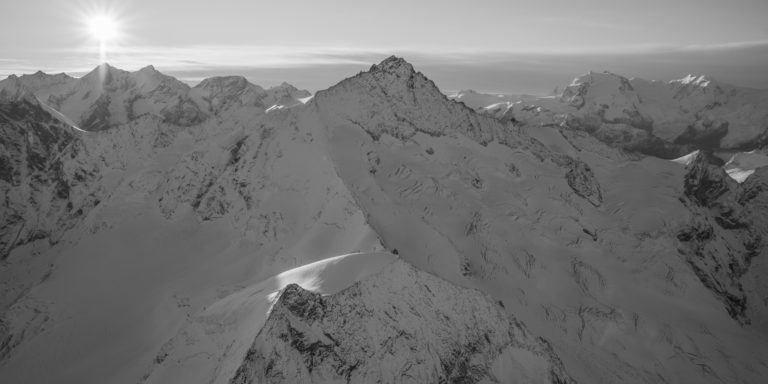 Zinalrothorn Rothorngrat - Zinalrothorn arête nord en noir et blanc - 4000 Zermatt