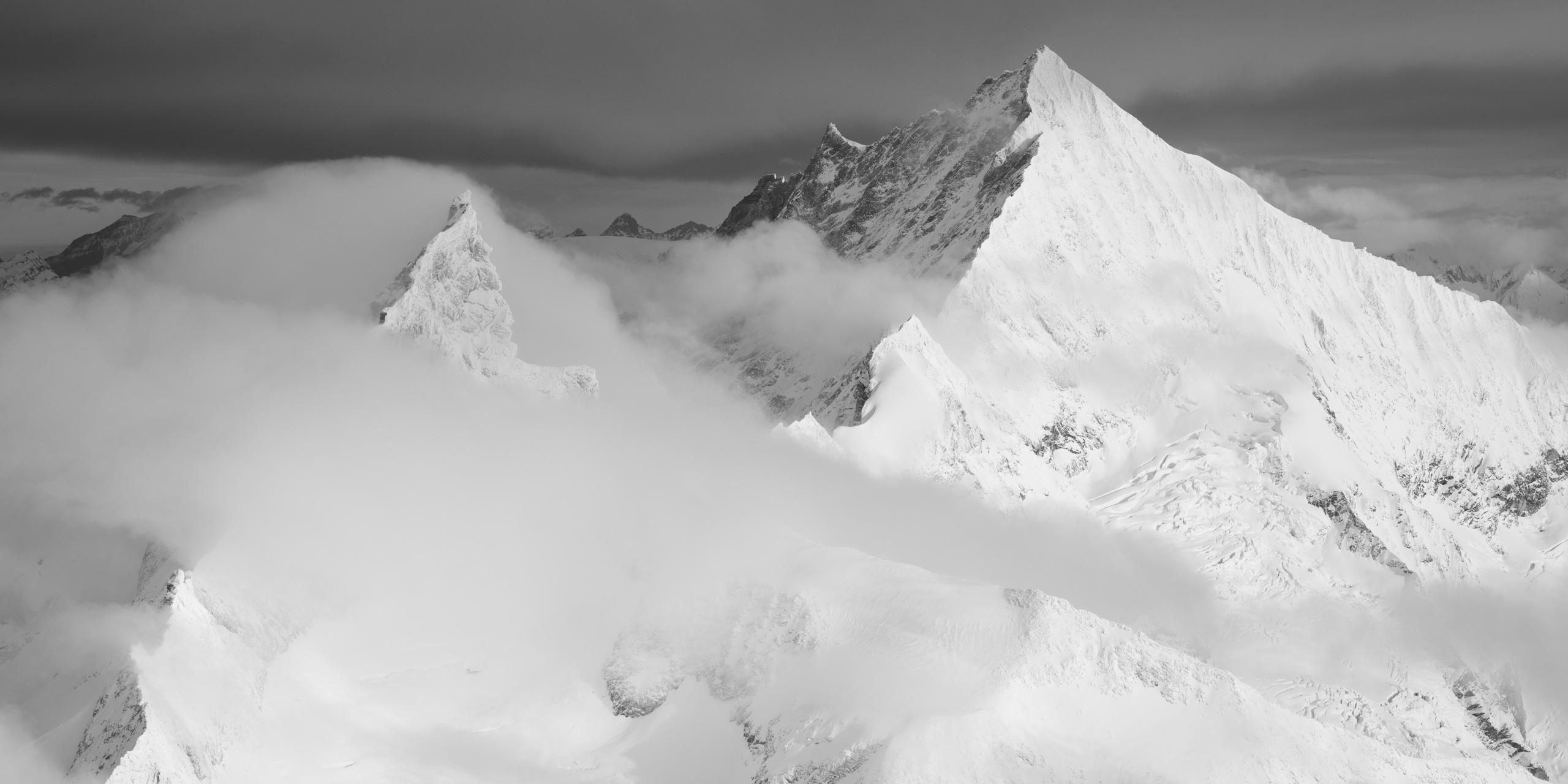 Panoramique Zinalrothorn - Photo montagne noir et blanc Weisshorn