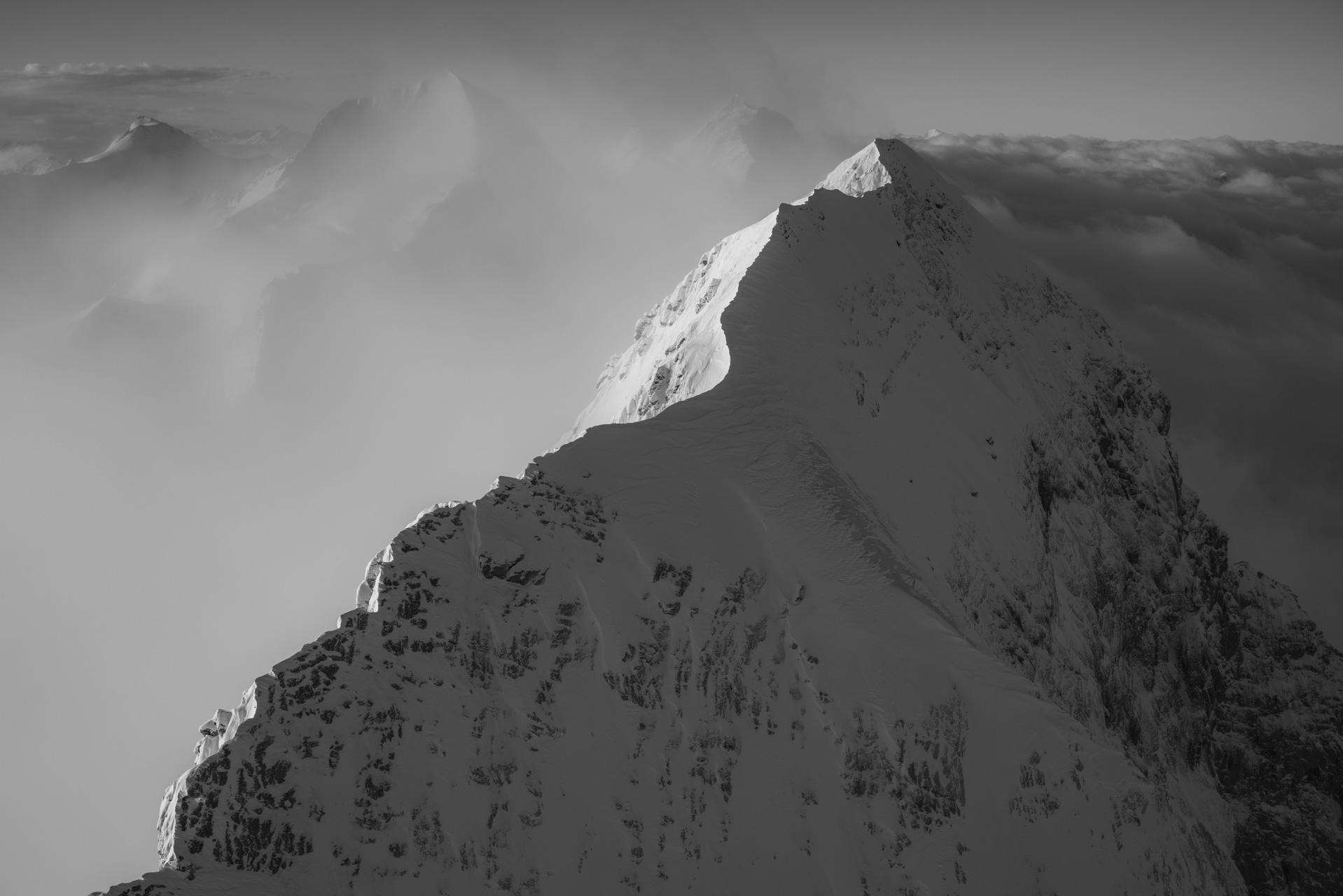 Eiger montagne - Sommets de l'Eiger en photo noir et blanc