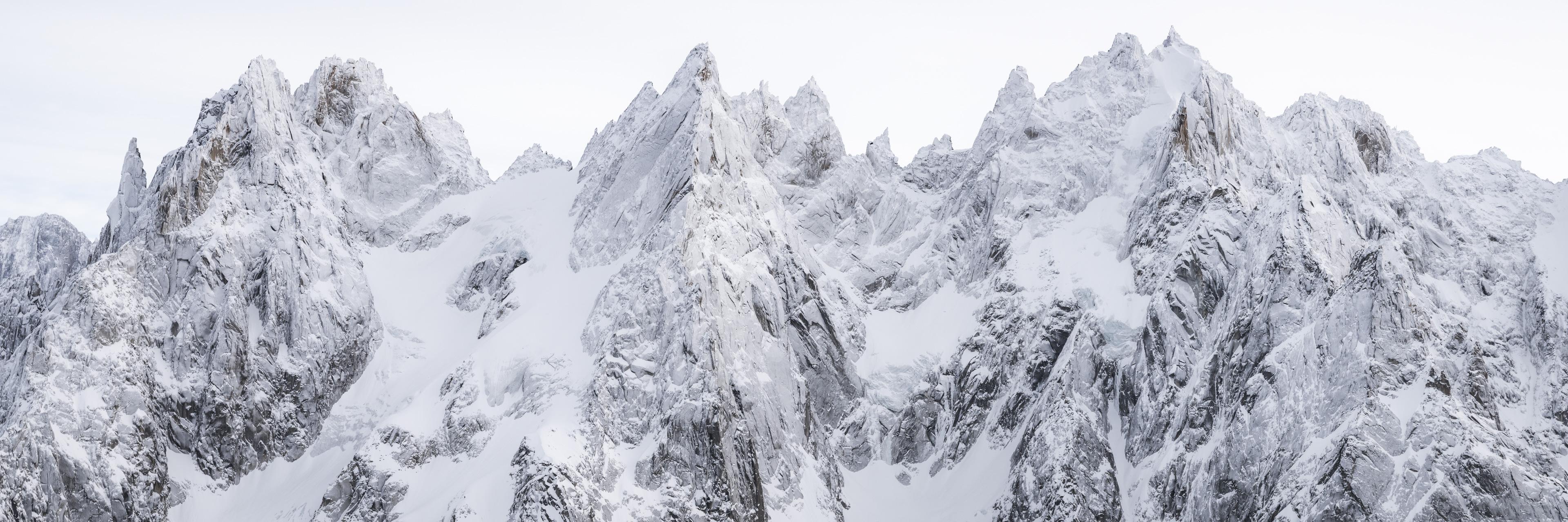Photo panoramique ds Aiguilles de Chamonix - Panaorama sur les aiguilles de Chamonix en hiver