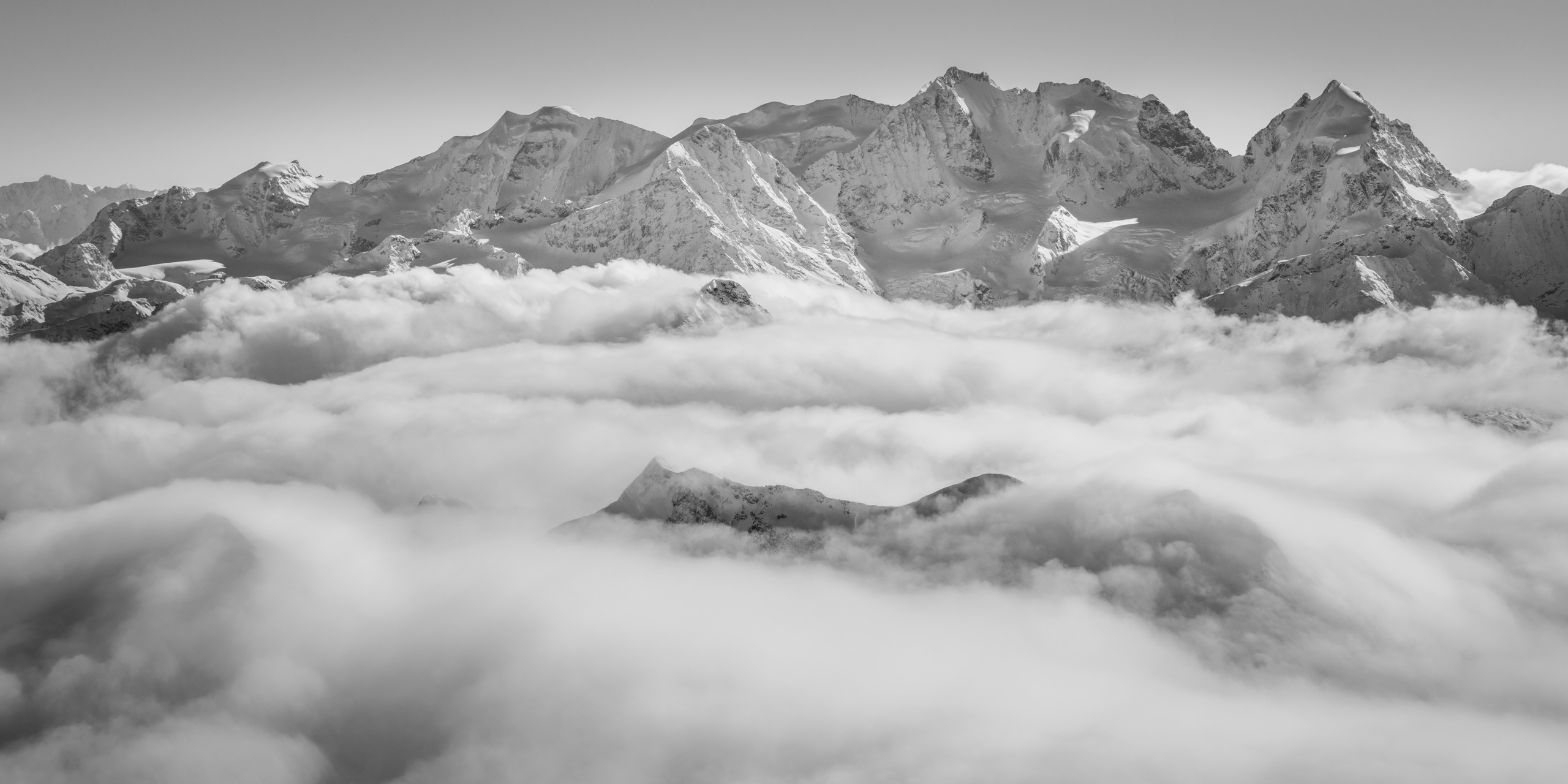 Panorama du massif de la Bernina - Vue sur le Piz Palu, Piz Bernina et Piz Roseg