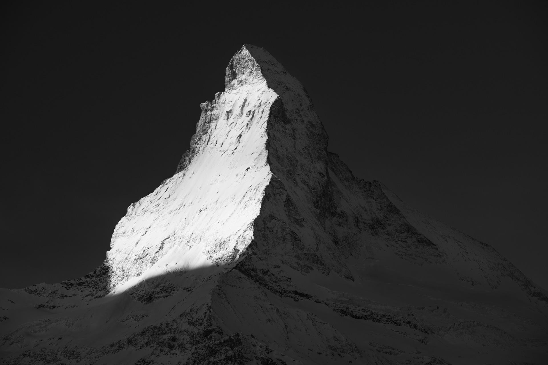 Photographie noir et blanc du Cervin - Face nord Cervin - Face Est Cervin - Lumière Cervin
