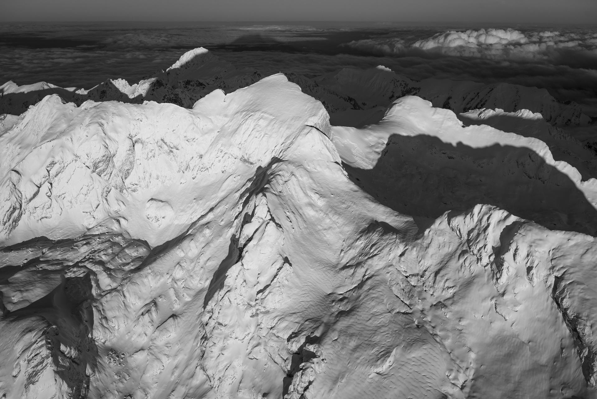 Photo noir et blanc des Cornettes de Bise Chablais - Photo de la Dent d'Oche