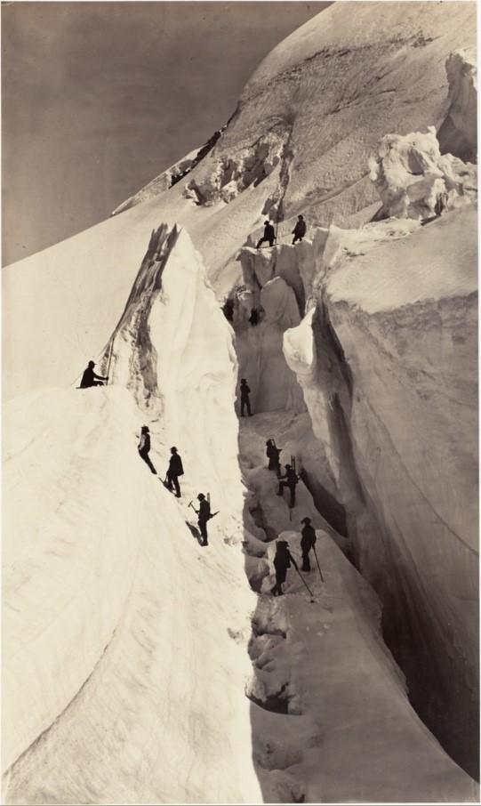 Auguste-Rosalie Bisson, Alpinistes lors de l'ascension du mont Blanc, 1861, photographie, 39,4 x 23,4 cm, New York, Metropolitan Museum.