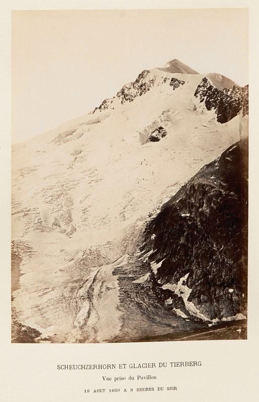 Camille Bernabe, Scheuchzerhorn et glacier du Tierberg, vue prise du Pavillon, 19 août 1850 à 3heures du soir, tiré de Collection de 28 daguerréotypes représentant les plus anciennes reproductions héliographiques des Alpes