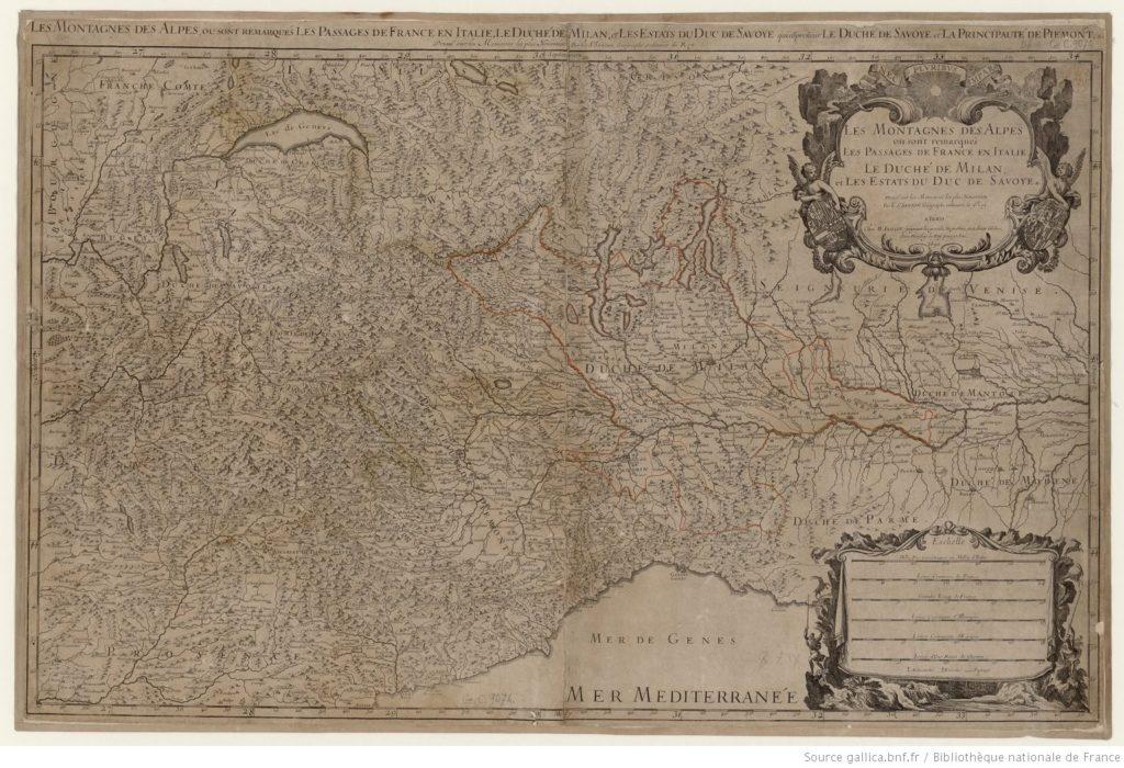 « Les Montagnes des Alpes où sont remarqués les passages de France en Italie, le duché de Milan et les estats du duc de Savoye » de Nicolas Sanson (1676)