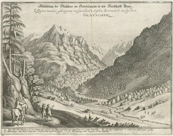 Joseph Plepp, Abbildung des Gletschers im Grindelwald in der Herrschaft Bern, gravure publiée dans le Topographia Helvetiae, Rhaetiae et Valesiae de Matthäus Merian en 1642.
