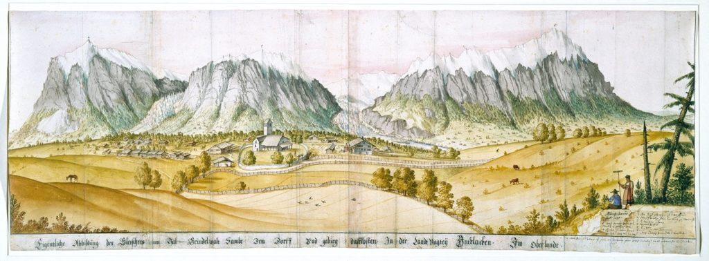 Albrecht Kauw, Les Alpes bernoises, vues de Grindelwald, 1669, plume et aquarelle sur papier, 27,5 x 79,8 cm, Bernisches Historisches Museum.