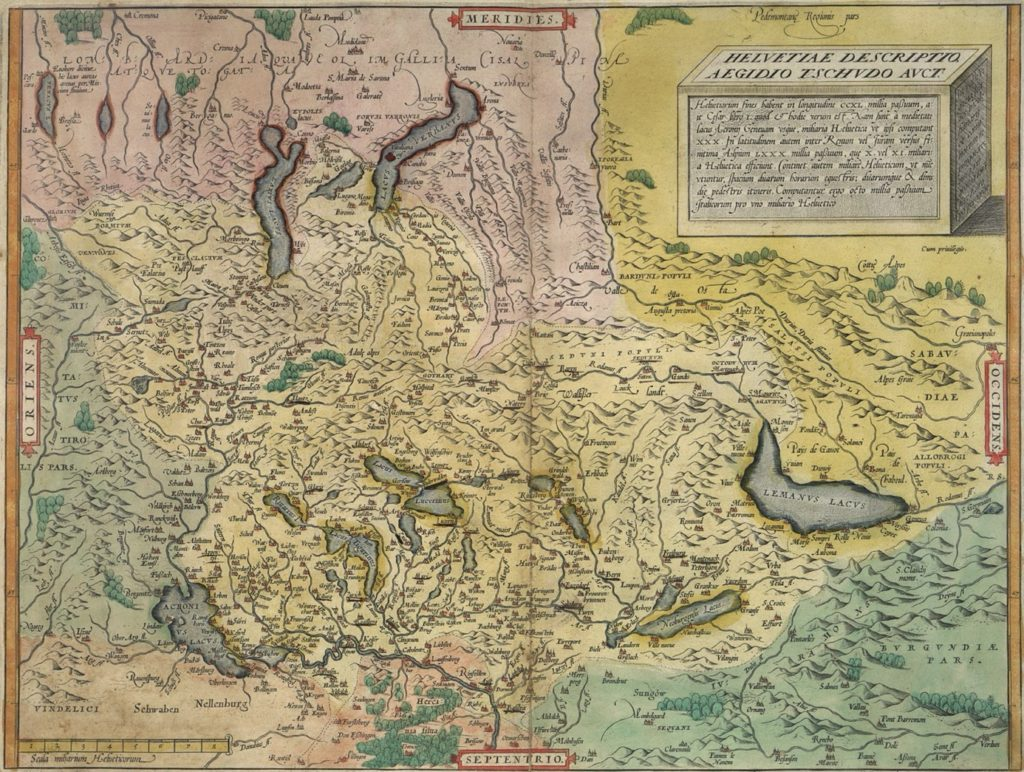 Carte de la Suisse par Aegidius Tschudi, parue dans le Alpisch Rhetia en 1538