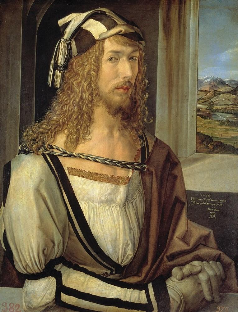 Albrecht Dürer, Autoportrait, 1498, huile sur bois, 52 x 41 cm, Madrid, musée du Prado.