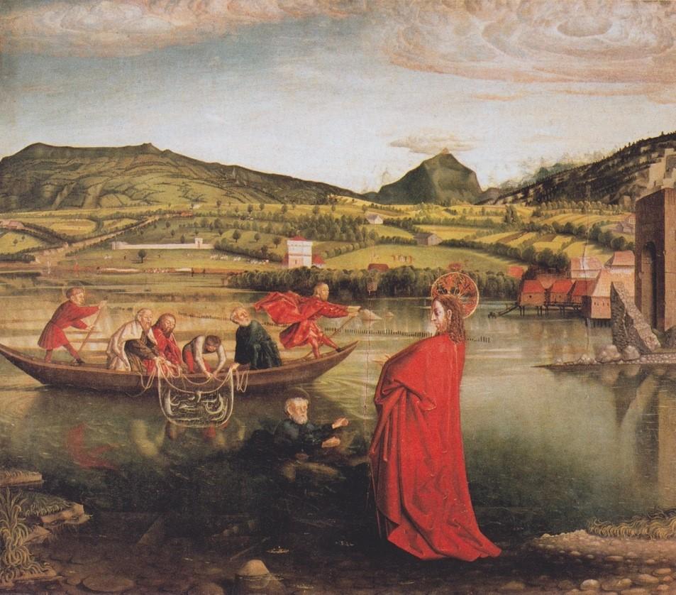 Konrad Witz, La pêche miraculeuse, 1444, tempera sur bois, 132 x 154 cm, Musée d'Art et d'Histoire de Genève