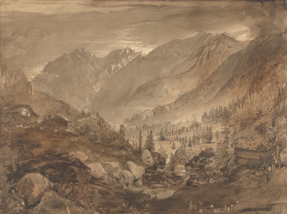 John Ruskin, Macugnaga, 1845, lavis gris et brun sur encre brune, 29,8 x 40,5 cm, Yale Center for British Art.