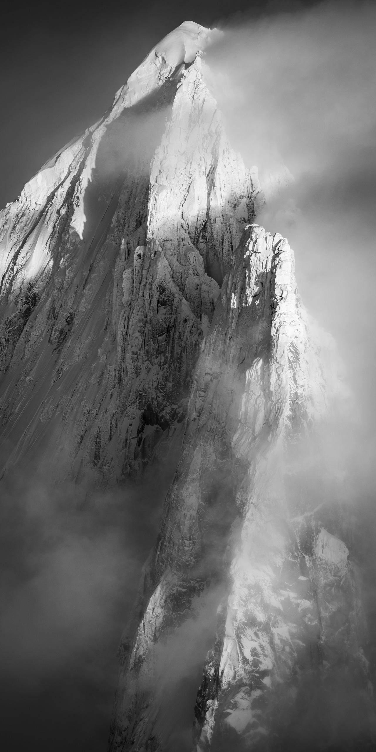 Photo des Drus verticale - Aiguille Verte ennneigée - Aiguille des Drus givrés - Chamonix