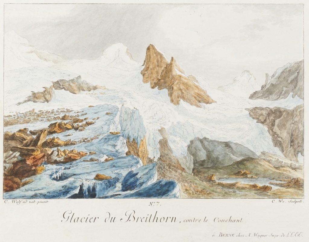 Wyss d'après Caspar Wolf, Glacier du Breithorn contre le couchant, 1777, gravure aquarellée à la main, 7e planche des Vues Remarquables des montagnes de la Suisse.