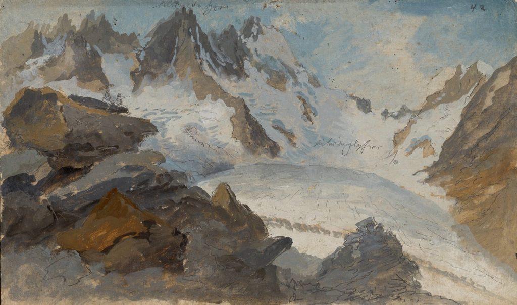 Caspar Wolf, Étude pour Lauteraargletscher mit Blick auf den Lauteraarsattel, crayon et huile sur carton, 21,8 x 36,5 cm, collection particulière.