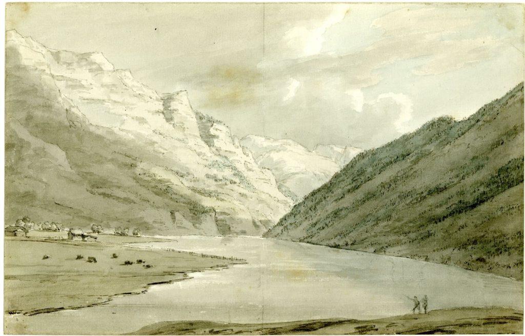 John Robert Cozens, Lac de Klöntal depuis l'Est, 1776, aquarelle et lavis d'encre, 23 x 35,4 cm, Londres, British Museum.