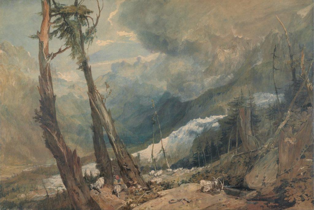 Joseph Mallord William Turner, Mer de Glace, dans la vallée de Chamonix, 1803, aquarelle, 70,5 x 104,1 cm, Yale Center for British Art.