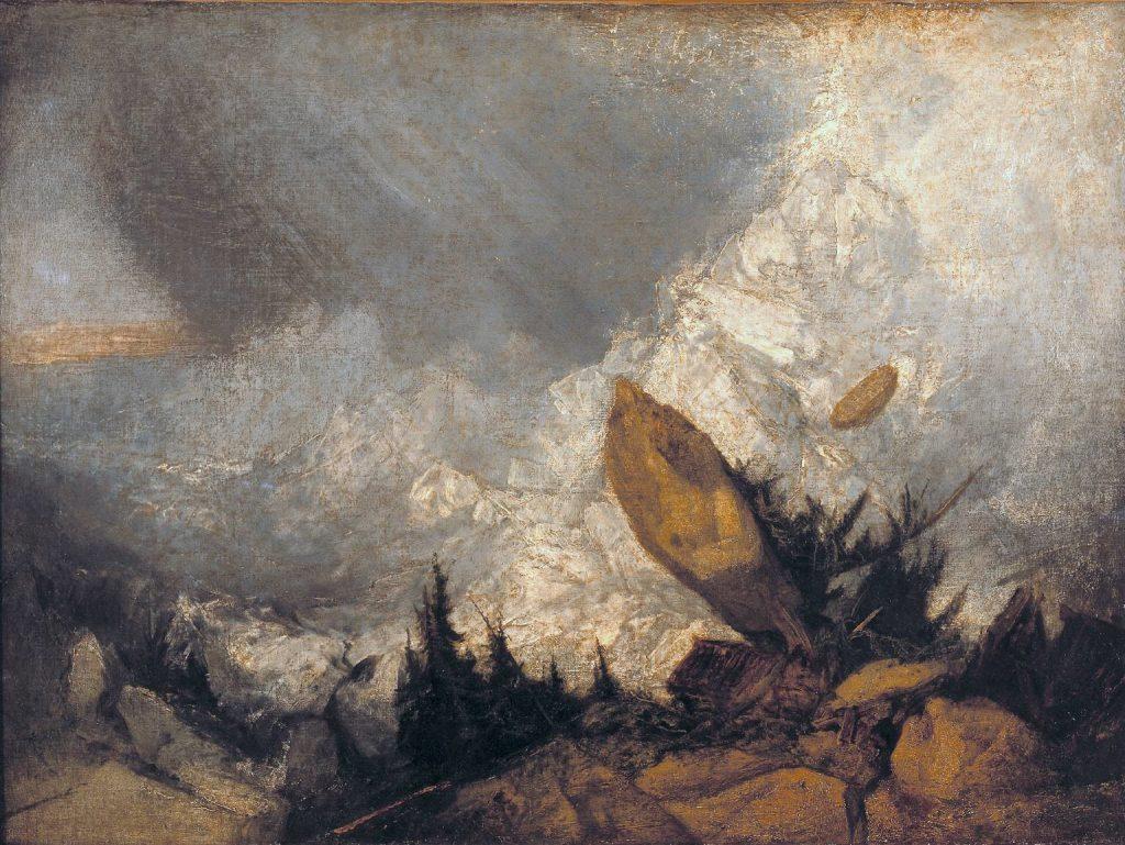 Joseph Mallord William Turner, Avalanche dans les Grisons, exposé en 1810, huile sur toile, 90,2 x 120 cm, Londres, Tate Britain.