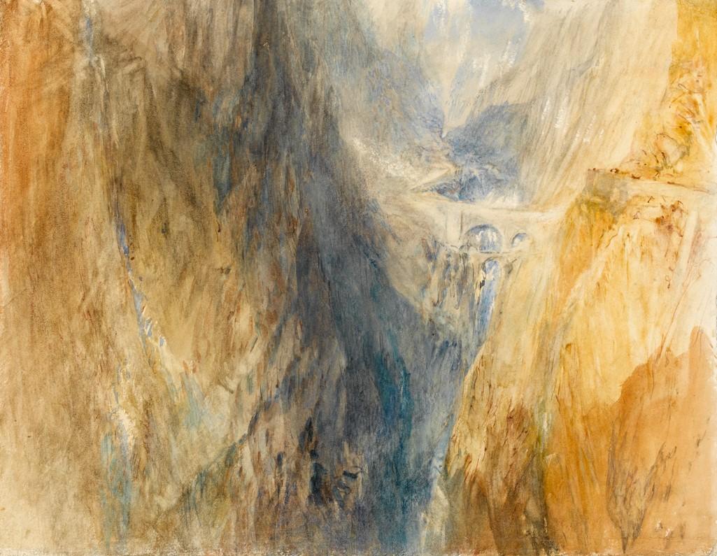 Joseph Mallord William Turner, Le pont du Diable, v. 1841, aquarelle, 23,8 x 30,5 cm, Cambridge, The Fitzwilliam Museum.
